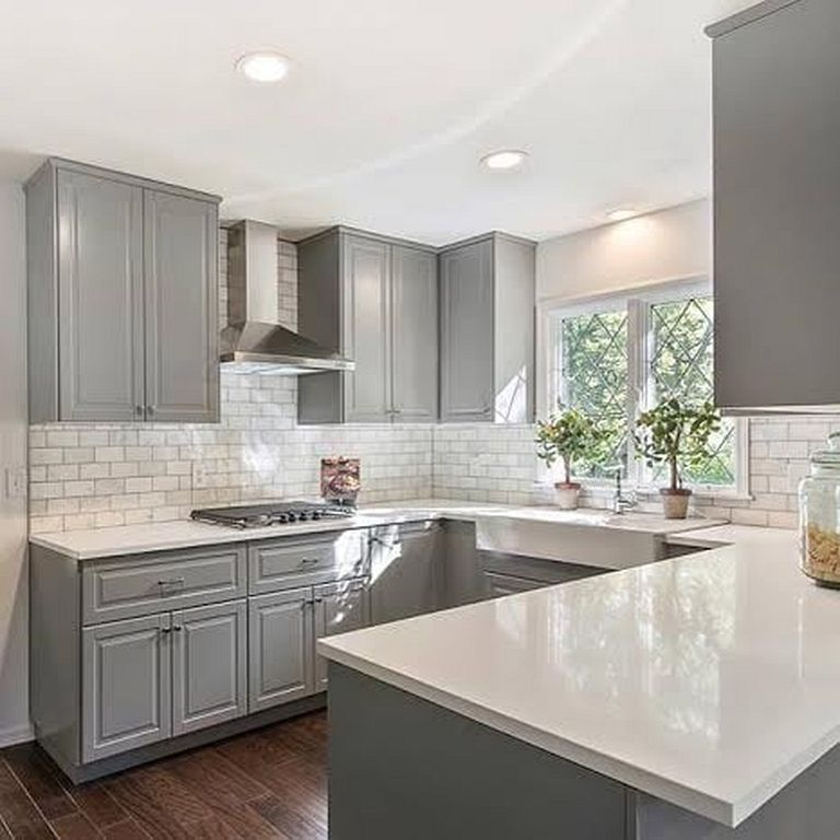 36 Soft Grey Cabinet Design Ideas For Your Kitchen  Grey Kitchen Custom Kitchens With Grey Cabinets Review