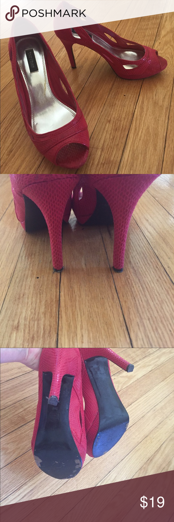 "Cute red heels Cute red heels. 4"". Previously loved but no wear can be seen when you have them on. Lots of life in them yet! I would keep, but no more room in my closet!! White House Black Market Shoes Platforms"