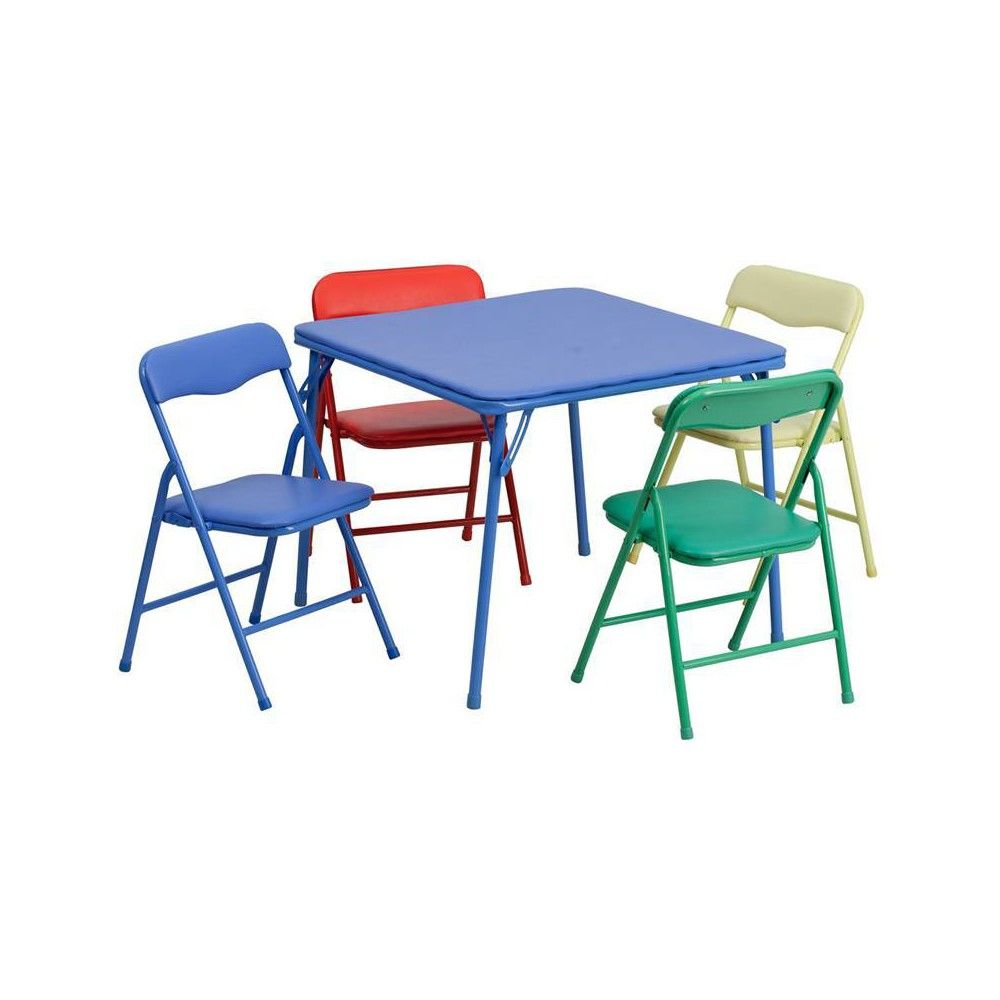 - 5pc Riverstone Furniture Collection Kid's Folding Table Set Blue