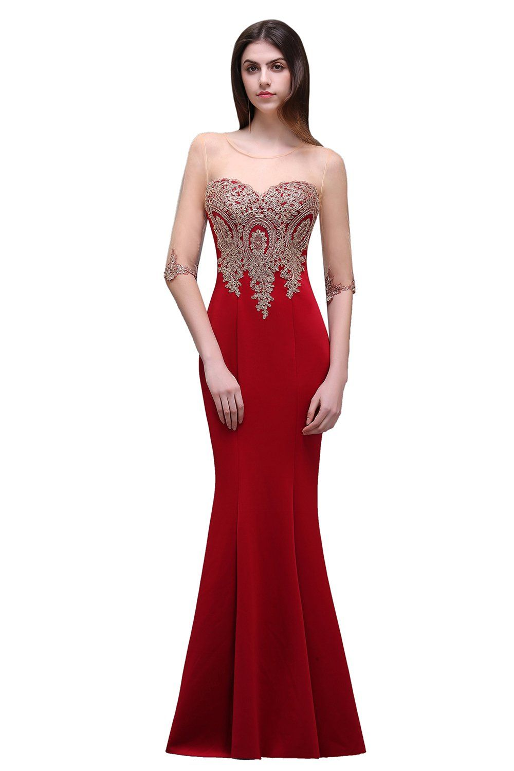 Misshow womenus red lace applique long formal mermaid evening prom