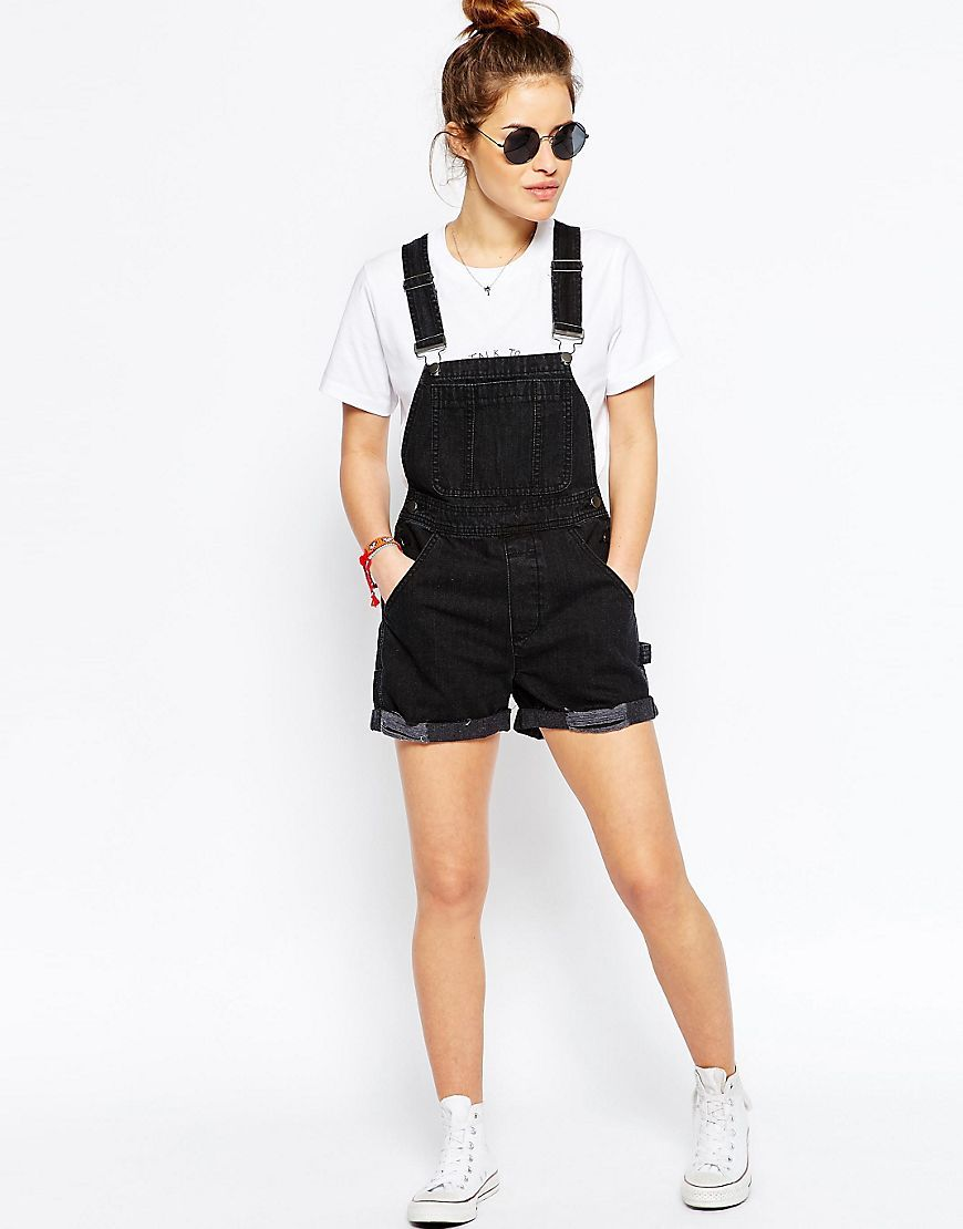 Image 4 of ASOS PETITE Denim Overall Shorts in Washed Black