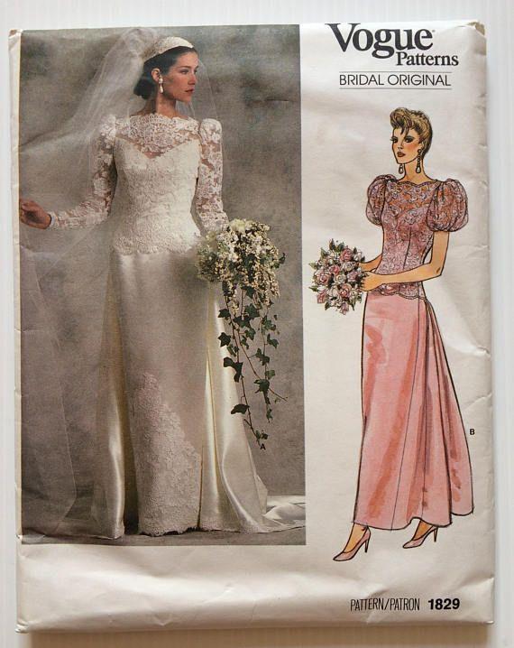 Vintage Vogue Bridal Original sewing pattern 1829   Wedding dress ...