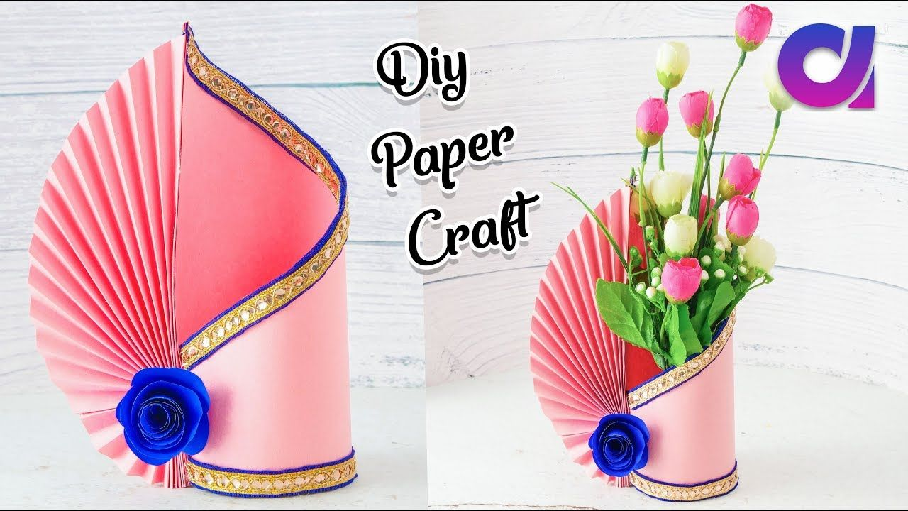 Easy Paper Flower Vase How To Make A Flower Vase At Home Simple Pape Paper Flower Vase Paper Flowers Diy Easy Paper Crafts