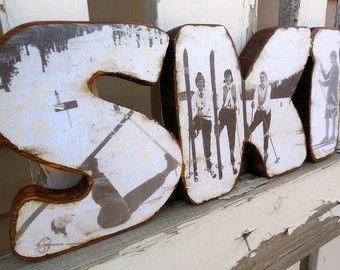 Handcrafted Wood Ski Decor Sign Vintage Skiers Photo Cabin Lodge