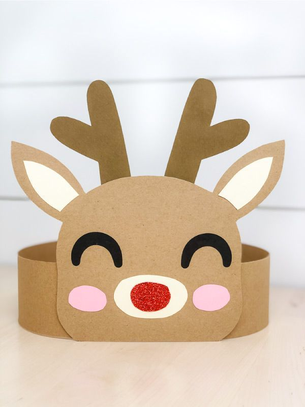 Simple and Fun Rudolph the Red Nosed Reindeer craft for kids. This free printable reindeer headband craft is great for toddlers, preschool and kindergarten children. #simpleeverydaymom #reindeercrafts #rudolphcrafts #holidaycrafts #holidays #christmas #xmas #kindergarten #preschool #toddlers