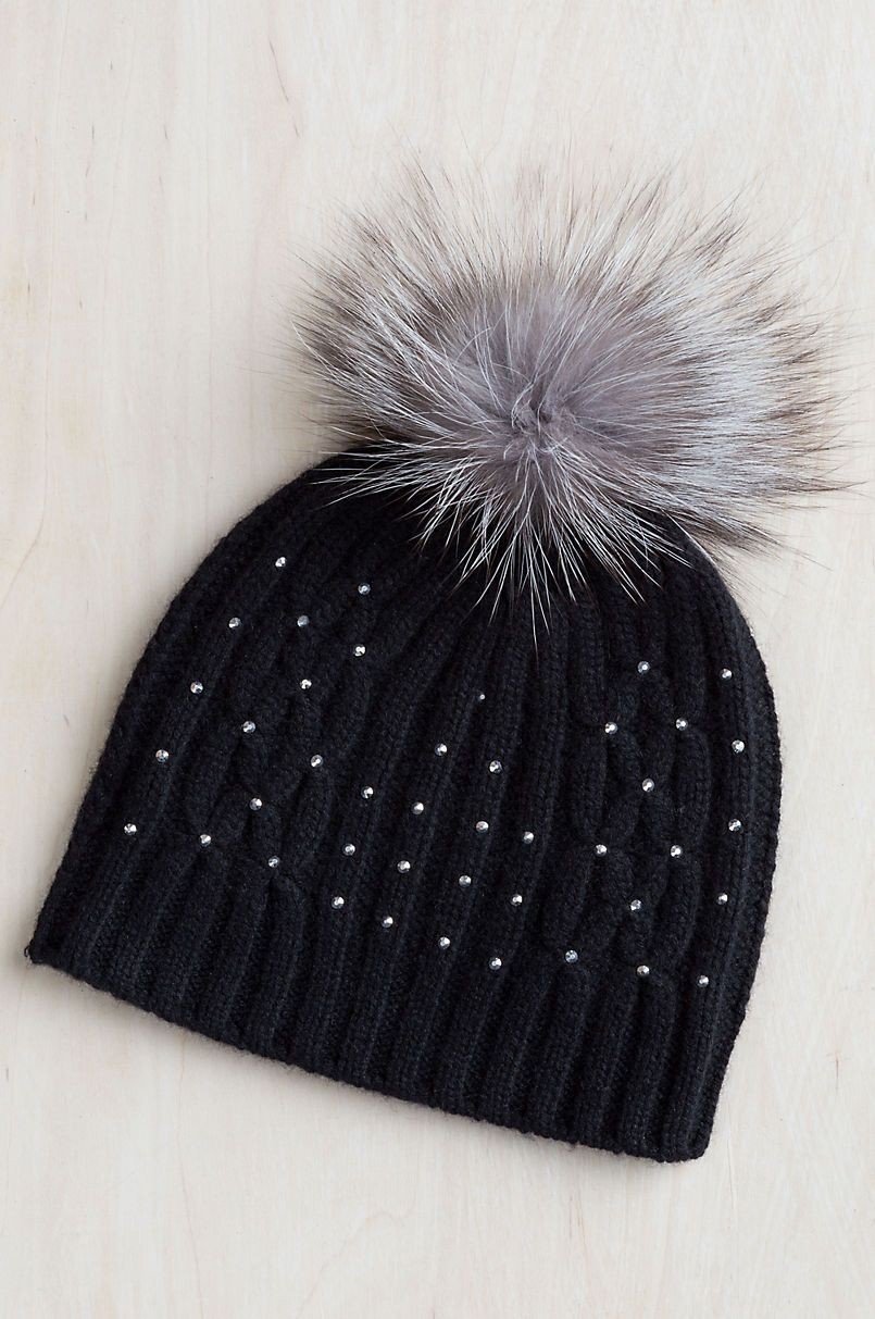 5dffadde496ca5 Knitted Cashmere Beanie Hat with Detachable Fox Fur Pom in 2019 ...