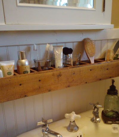 Stash it all above the sink but below the mirror-toothbrush, toothpaste, floss, hair ties, bobby pins, creams, etc More