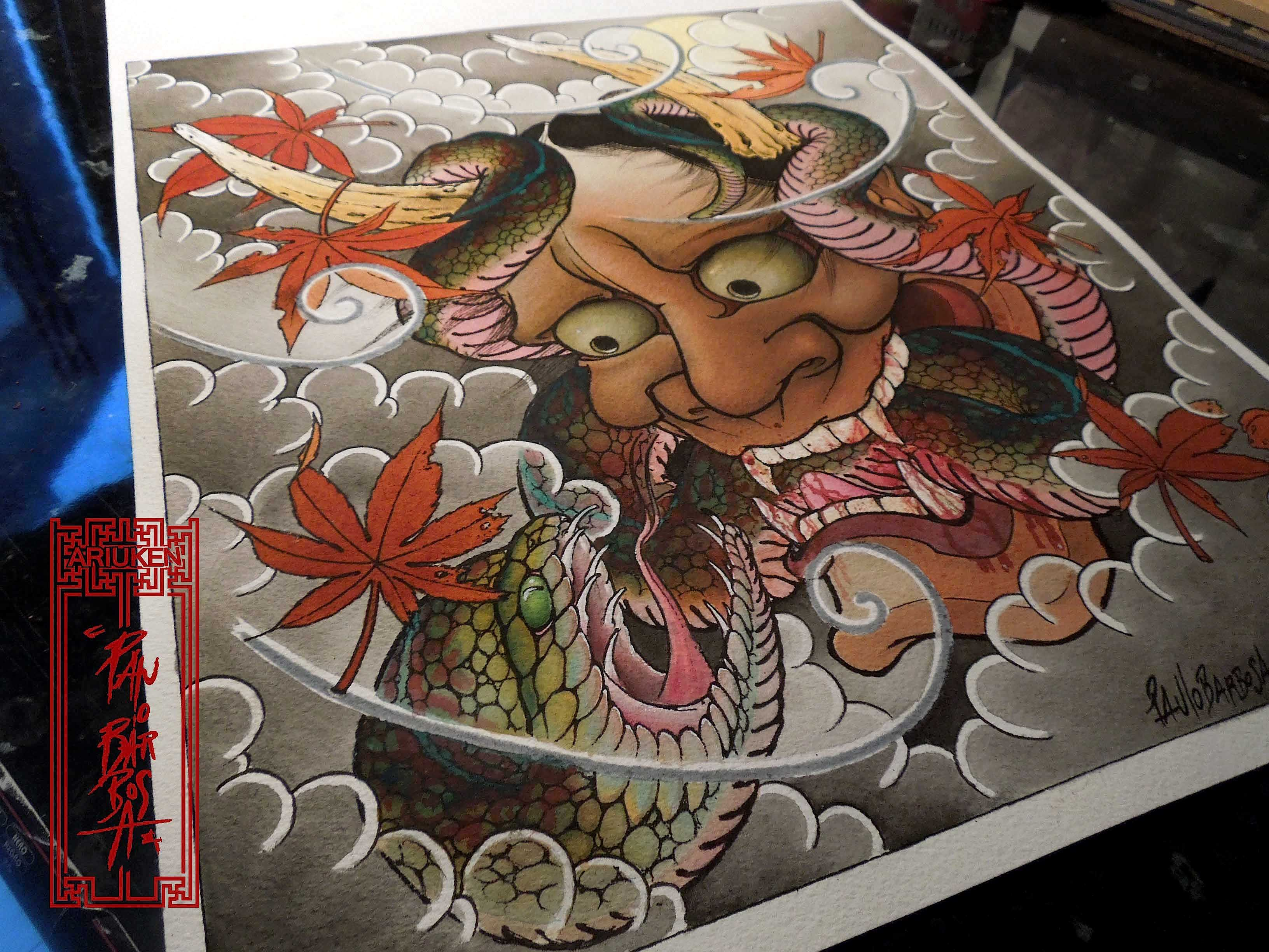 Hannya And Snake Art By Paulo Barbosa  Ariuken Art