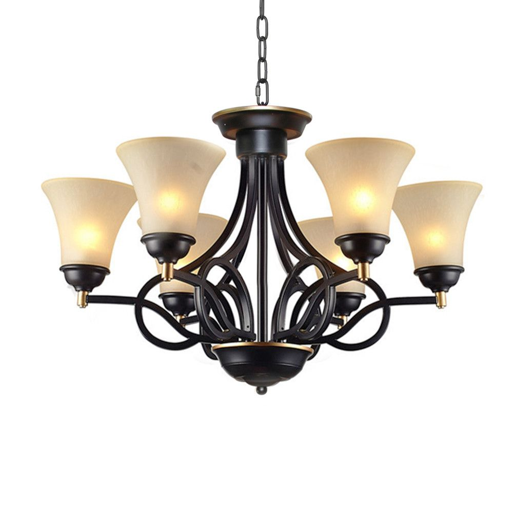 Traditional 6 light chandelier products pinterest chandeliers lnc traditional chandelier antique pendant lighting with frosted glass shade matte black finish arubaitofo Image collections