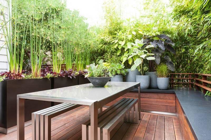 kleiner garten hinterhof bambus sichtschutz kuebelpflanzen gartentisch edelstahl - Kleine Garten Sichtschutz