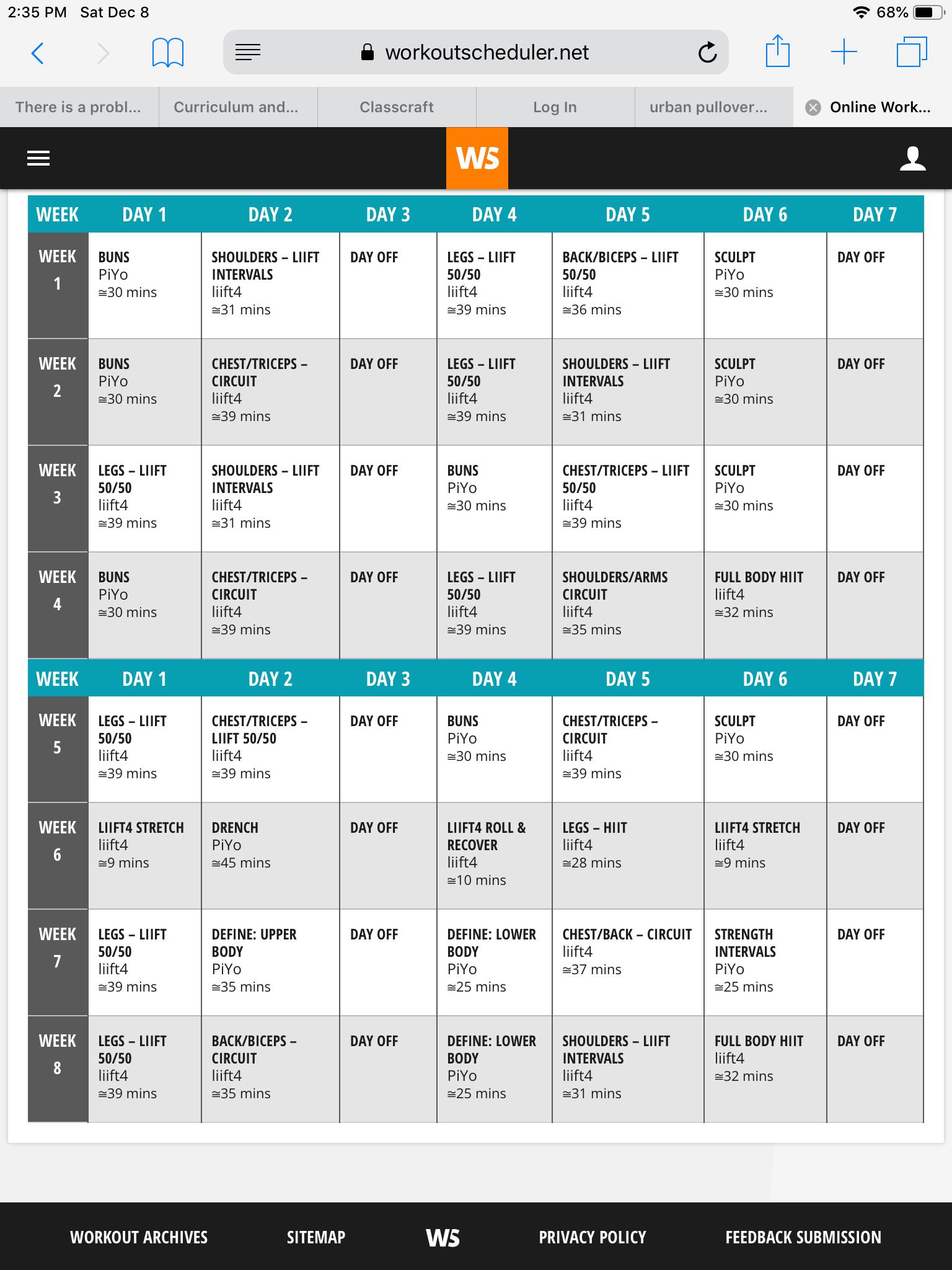 Liift4 Workout Sheets