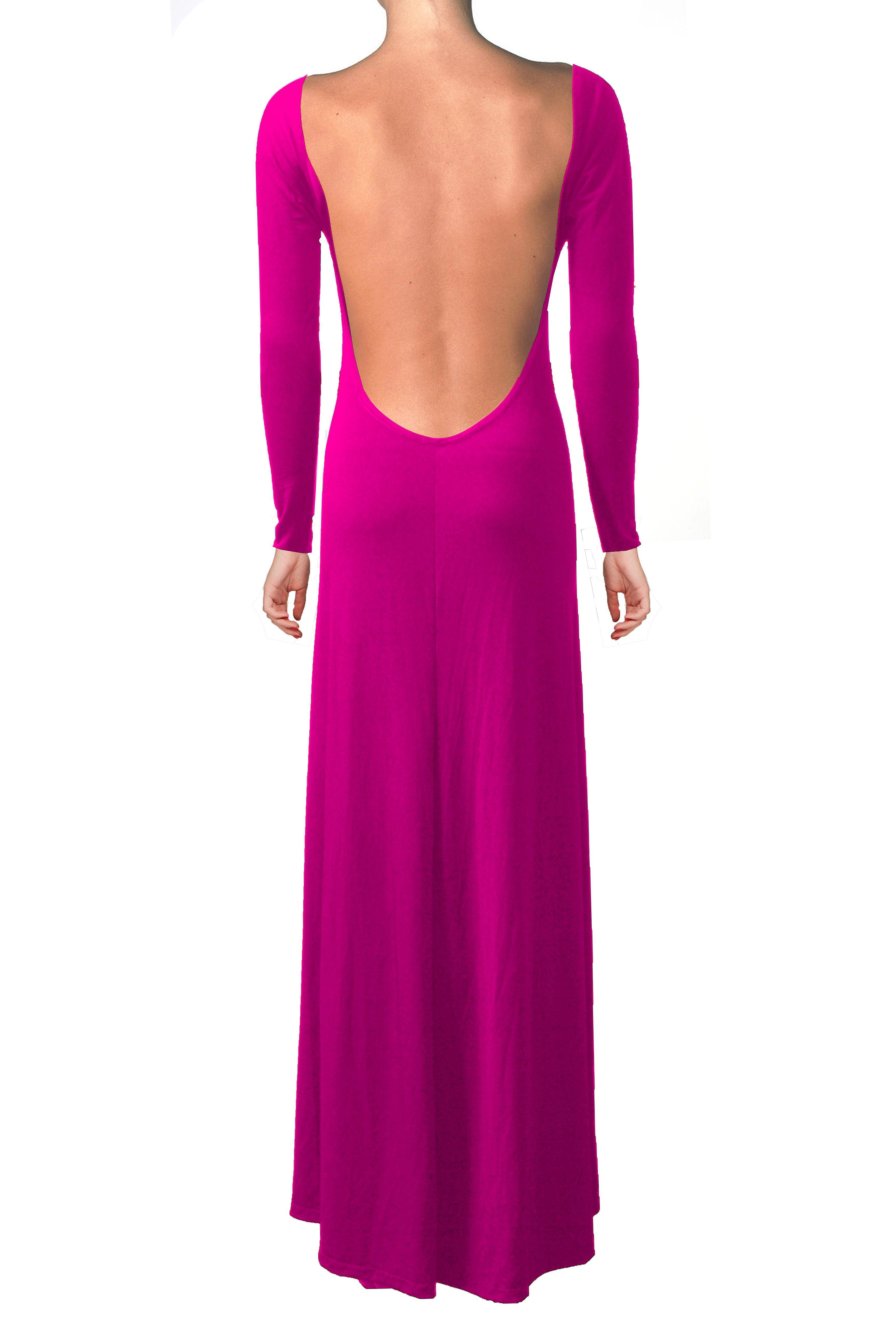 Hot pink dress bridesmaid backless dress long sleeve prom dress open