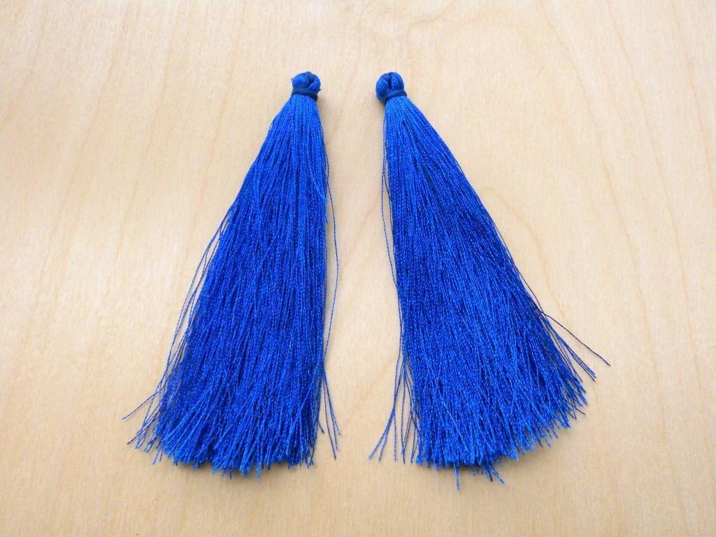 2pcs Silk tassels 9cm, Silk Thread tassels, Earring tassels, Pendant tassels, Jewelry tassels, Handmade Tassels, Sapphire blue color by Minicraftbox on Etsy