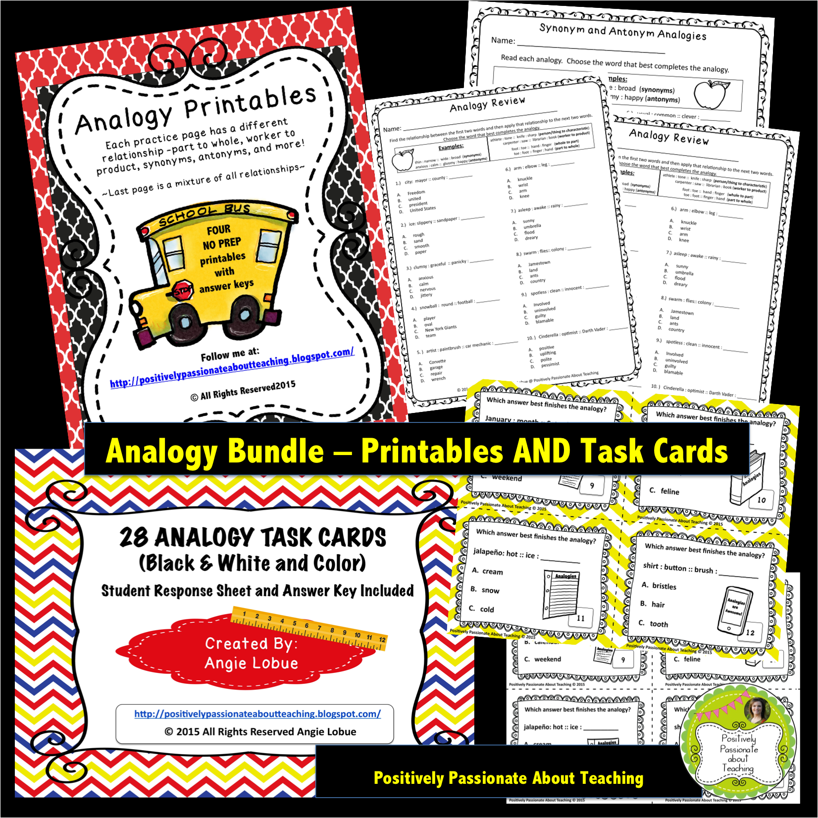 Analogy Bundle: Practice Printables And Task Cards