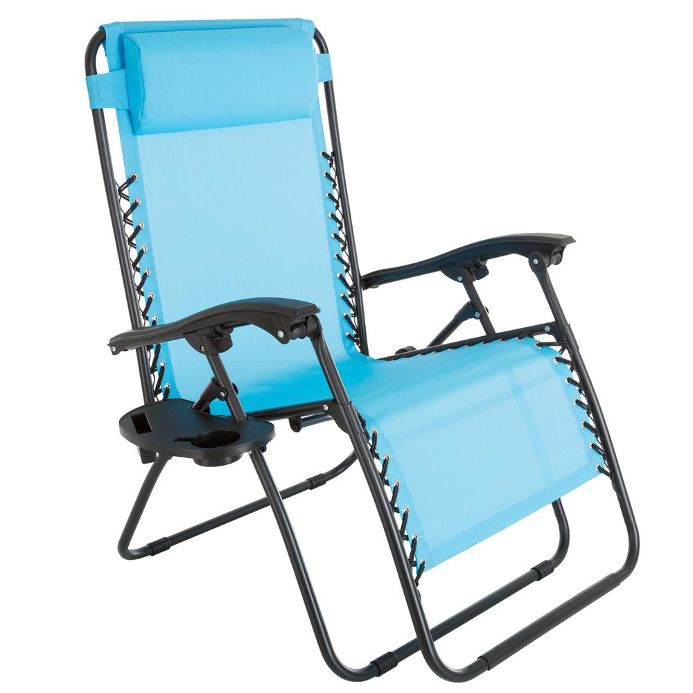 Pure garden oversized zero gravity patio lawn chair in blue in