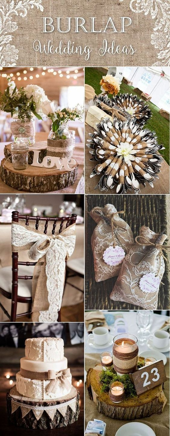 Country Rustic Lace And Burlap Wedding Ideas By Bernice Wedding Decorations Wedding Themes Rustic Burlap Wedding