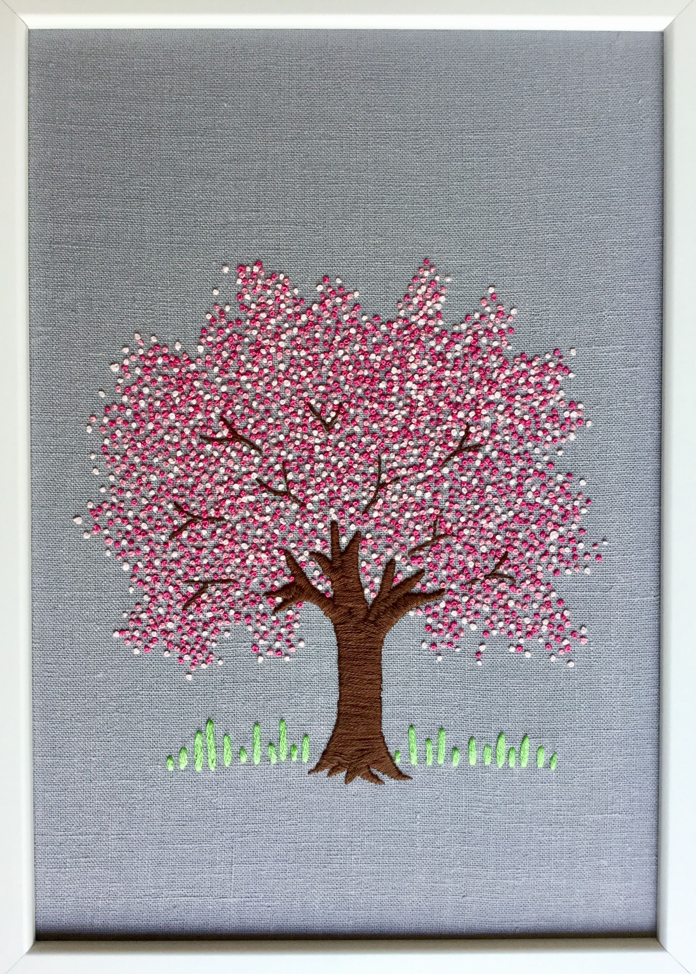 My Project Embroidered Cherry Blossom Tree Sakura Tree French Knots In Stranded Cotton On Linen Background Inspired By Some Kasnak Sanati Kanavice Nakis