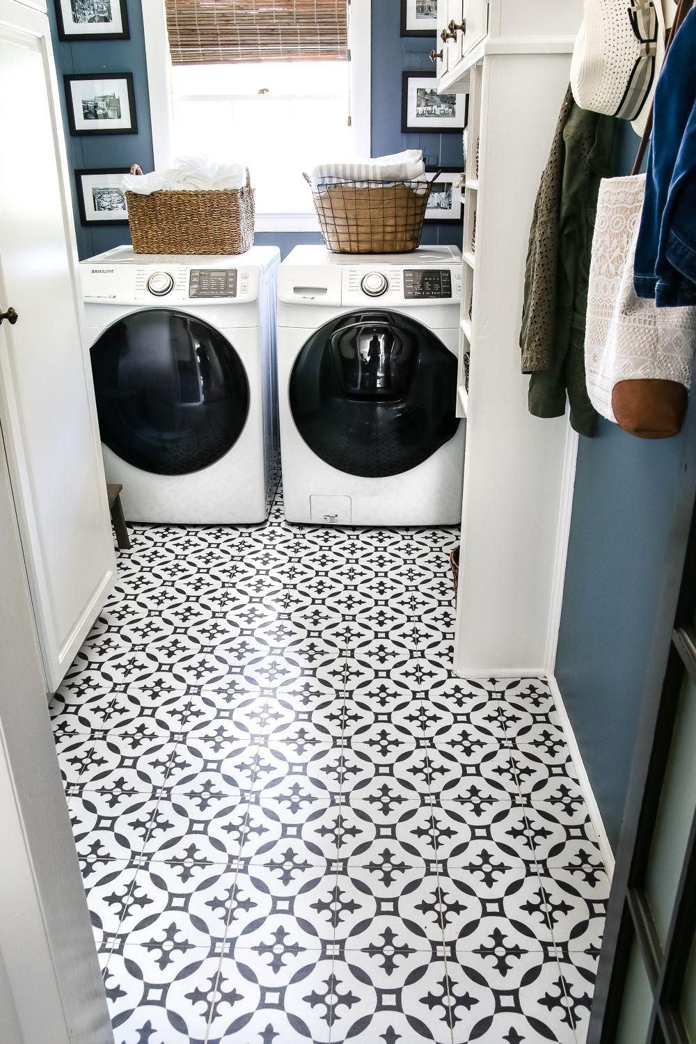 Diy Moroccan Vinyl Tile Floor Laundry Room Flooring Laundry