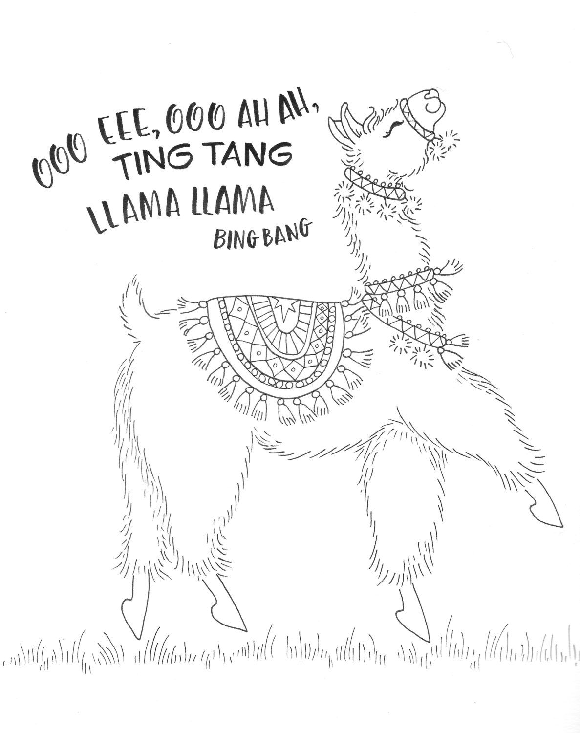 Coloring A Dancing Llama With New Colored Pencils Llama Drawing