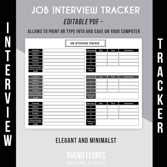 picture regarding Printable Job Search Log identify Undertaking Job interview Tracker - Endeavor Job interview Log / Editable