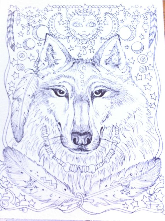 ANIMAL SPIRITS COLORING BOOK Native American style art