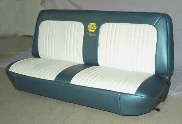 1965 Ford F100 Truck Seat After New Cover With Embroidered Logo At Crazygarage F100 Truck 1965 Ford F100 Ford Interior