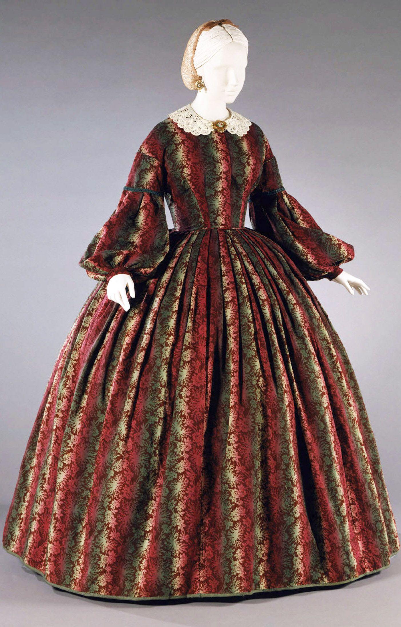Day dress, prob. American, ca. 1863. Printed wool, silk ...
