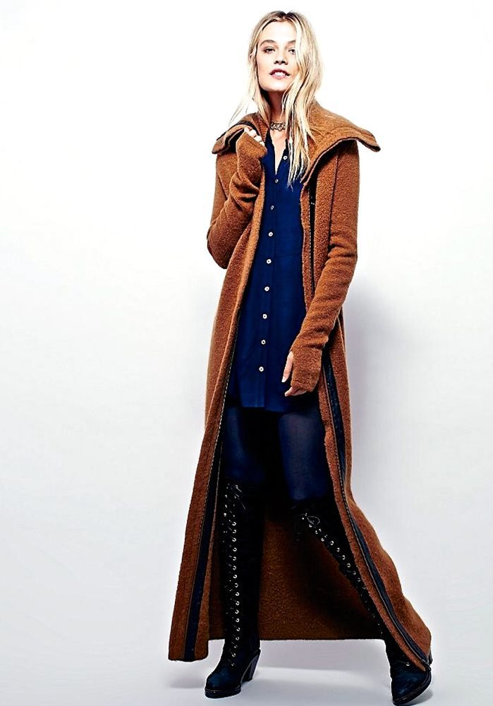 NWT Free People Nicholas K brown spice Athena Maxi Sweater Coat ...