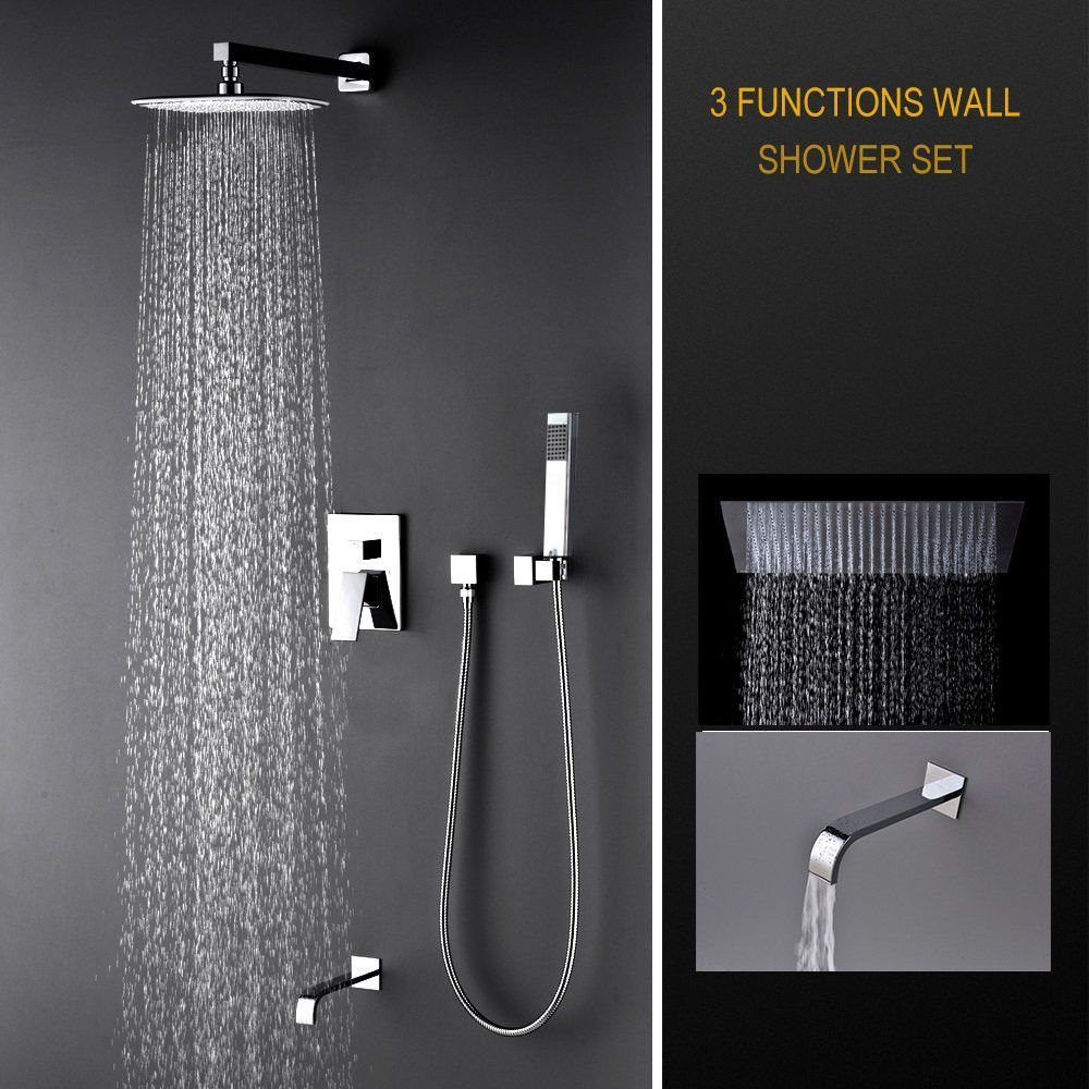 Luxury Rain Mixer Shower Combo Set Wall Mounted 3 Way Shower