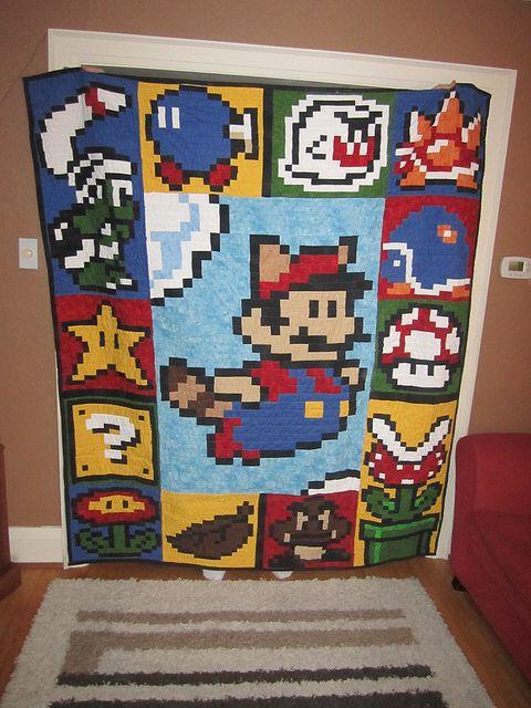 Super Mario Quilt Mario Quilt Mario Crafts Quilts