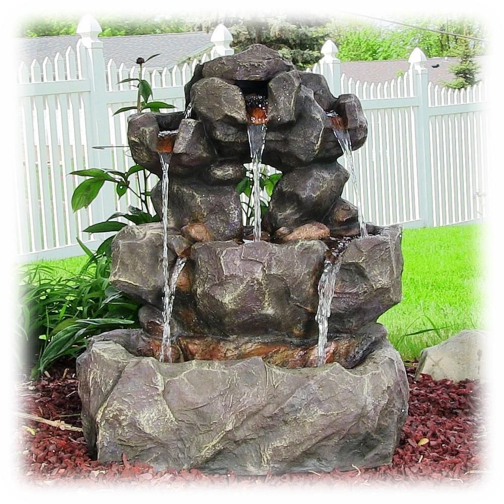 Layered Multi Stream Rock Waterfall 32 Inch Lighted Outdoor Fountain