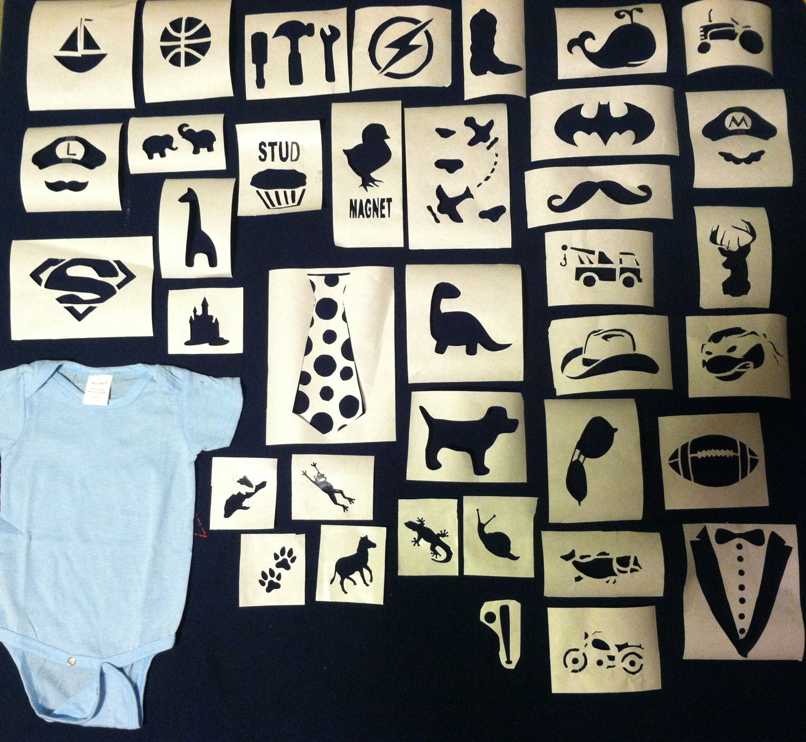 Diy baby boy onesies these are the stencils i made for my