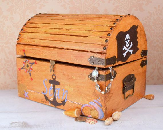 Boys Memory Box Pirate Treasure Chest LT By TrueVineTreasures