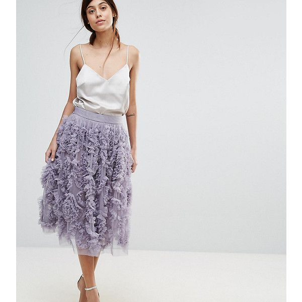 buy good quality and quantity assured harmonious colors Lace & Beads Tulle Midi Skirt With 3D Shirring Detail ($46 ...