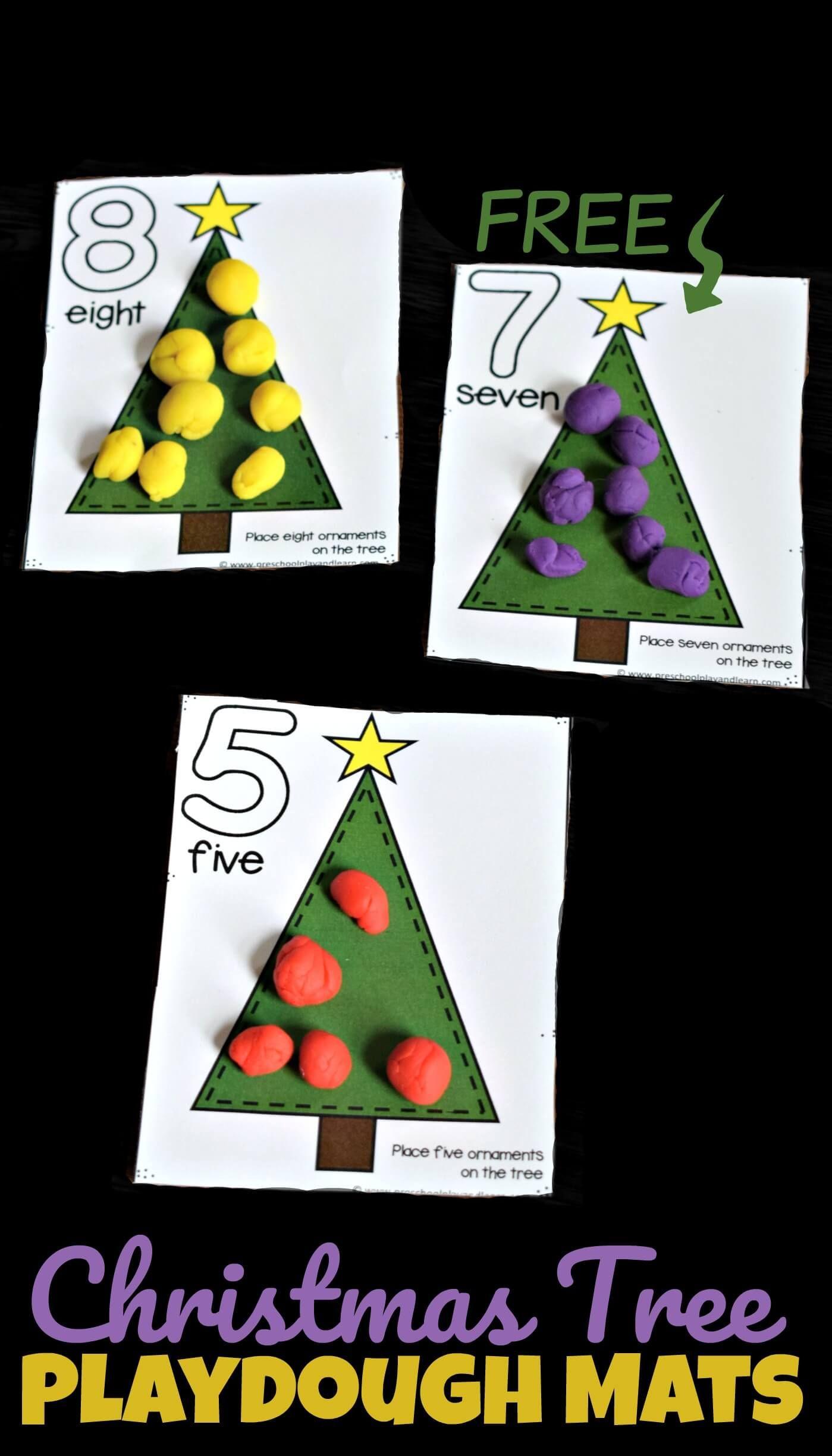 Free Christmas Tree Playdough Mats