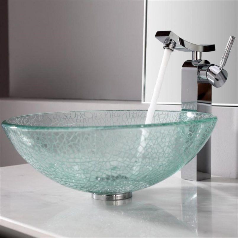 Bathroom Silver Modern Spigot With Transparant Hemisphere Sink Water