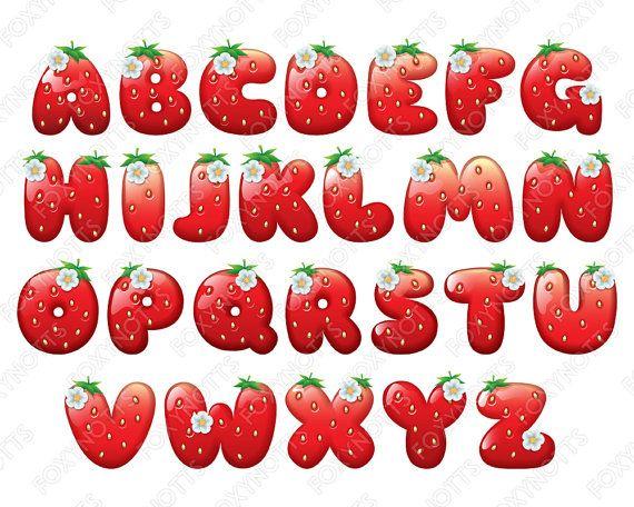 Strawberry Alphabet Font Clipart Digital Download Clip Art