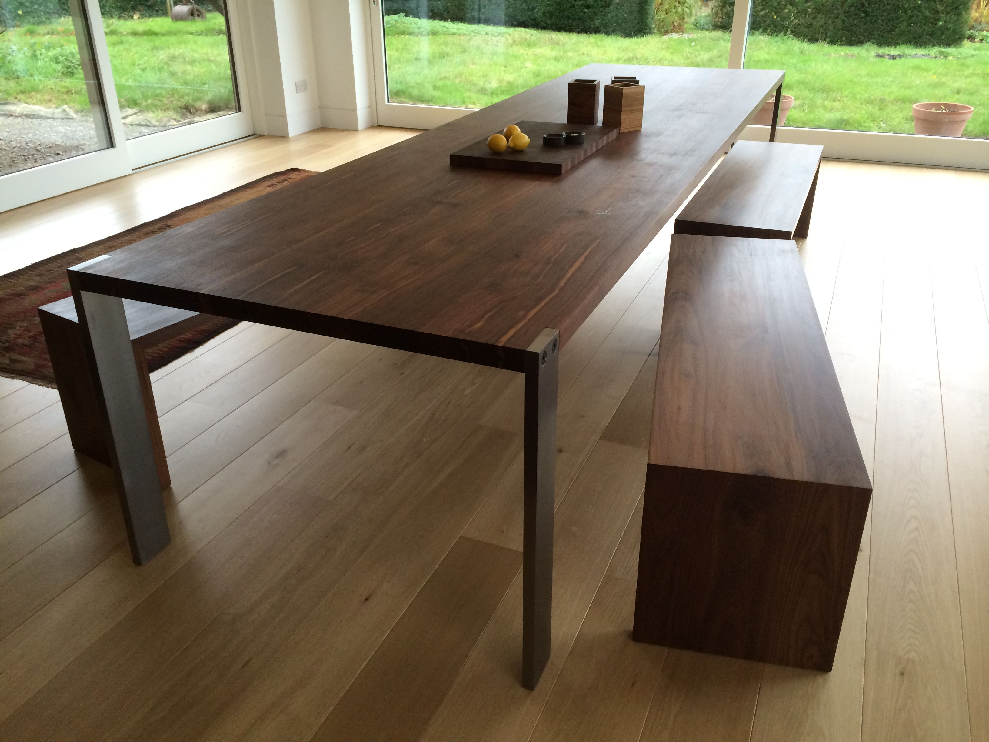 Solid Walnut Dining Table With Stainless Steel Legs & Solid