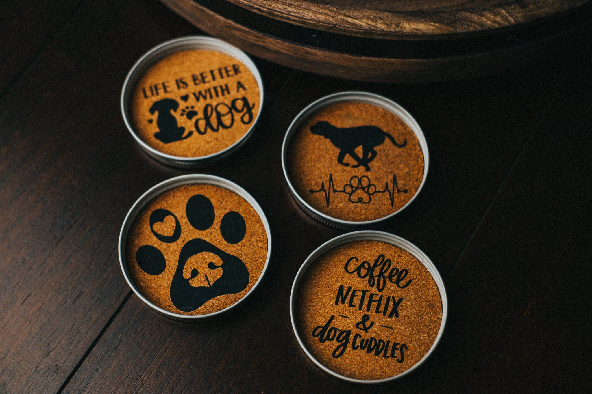 Dog Lovers Custom Mason Jar Deckel Kork Untersetzer – 2er Pack