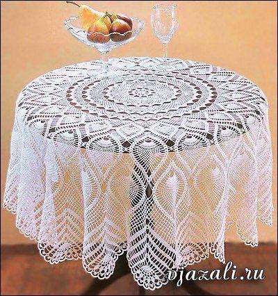 Схема прямоугольной скатерти на большой стол крючком