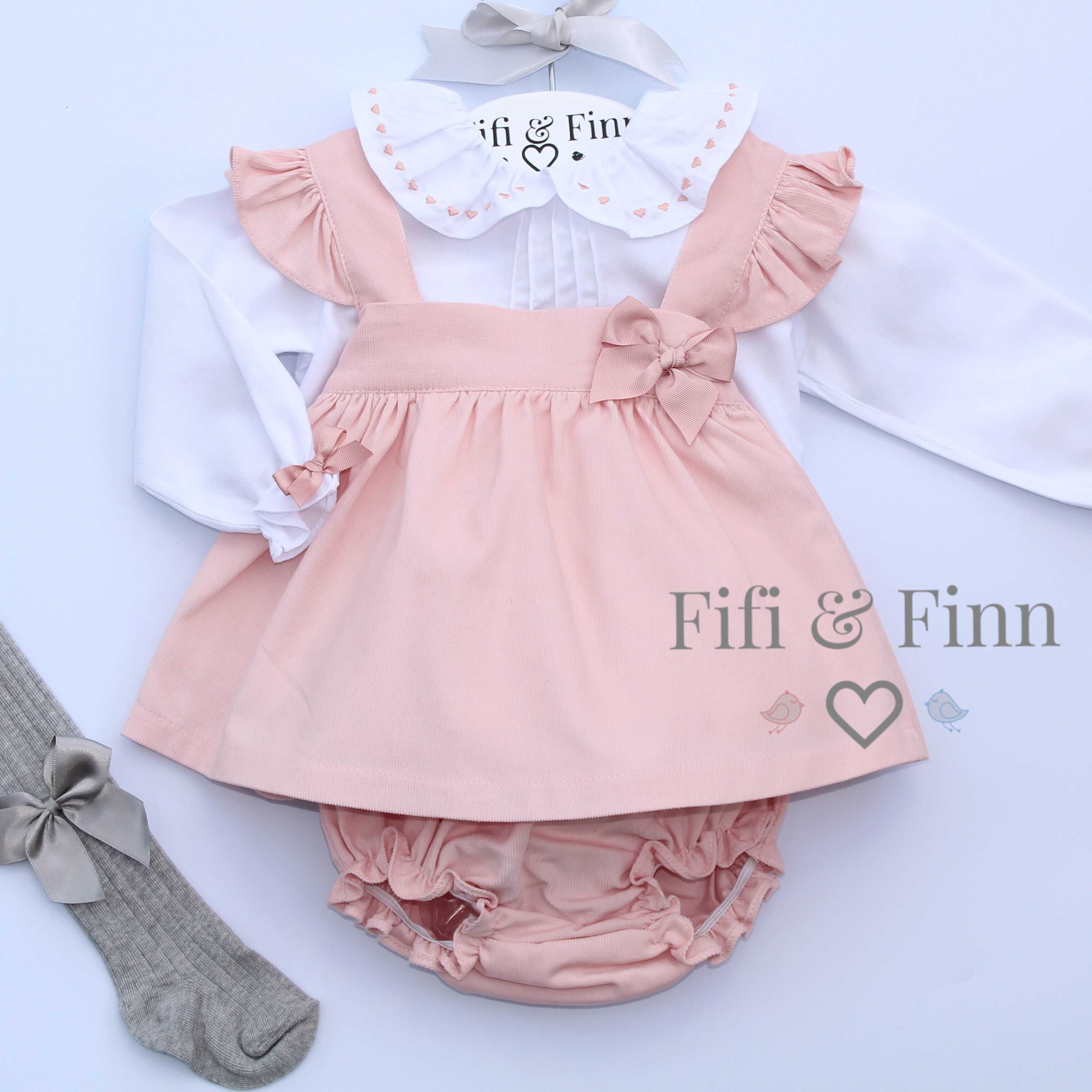 Spanish Style Beautiful Baby Girl Pink and White Romper.