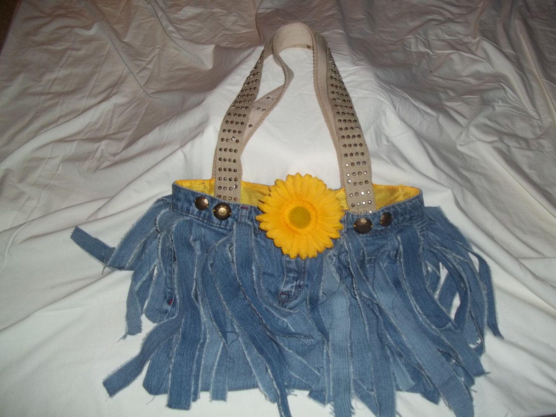 Upcycled Denim Fringed Tote Bag. $15.00, via Etsy.