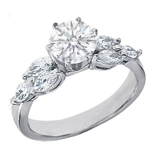 f2a39f8f27fd4 Engagement Ring with Marquise Diamonds side stones | I Do | Round ...