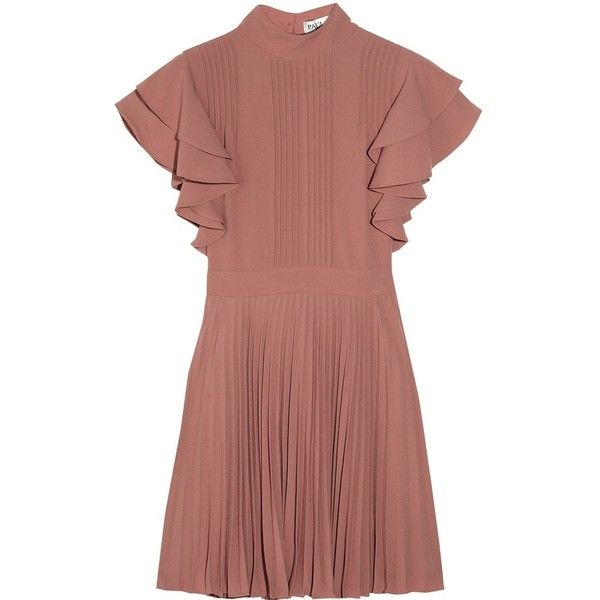 Paul Joe Darius pleated crepe dress ❤ liked on Polyvore featuring dresses, pleated dress, paul joe dress, red pleated dress, red crepe dress and red dress