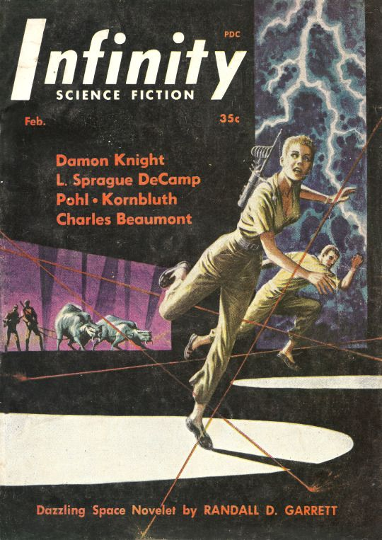 Infinity Science Fiction, vol 1 no 2, February 1956. Cover art by Ed Emshwiller