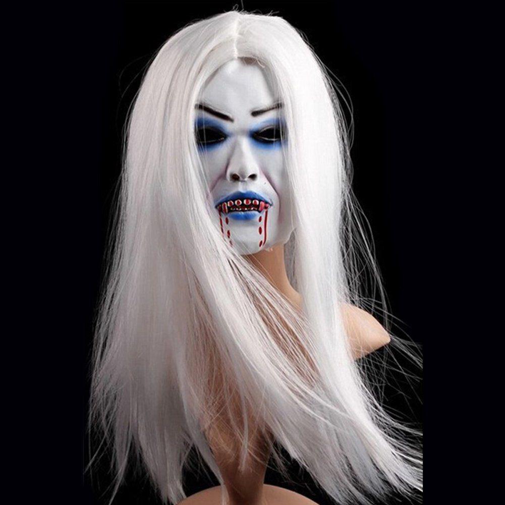 Huplue Halloween Ghost Mask Toothy Zombie Bride Mask Bleeding Hair