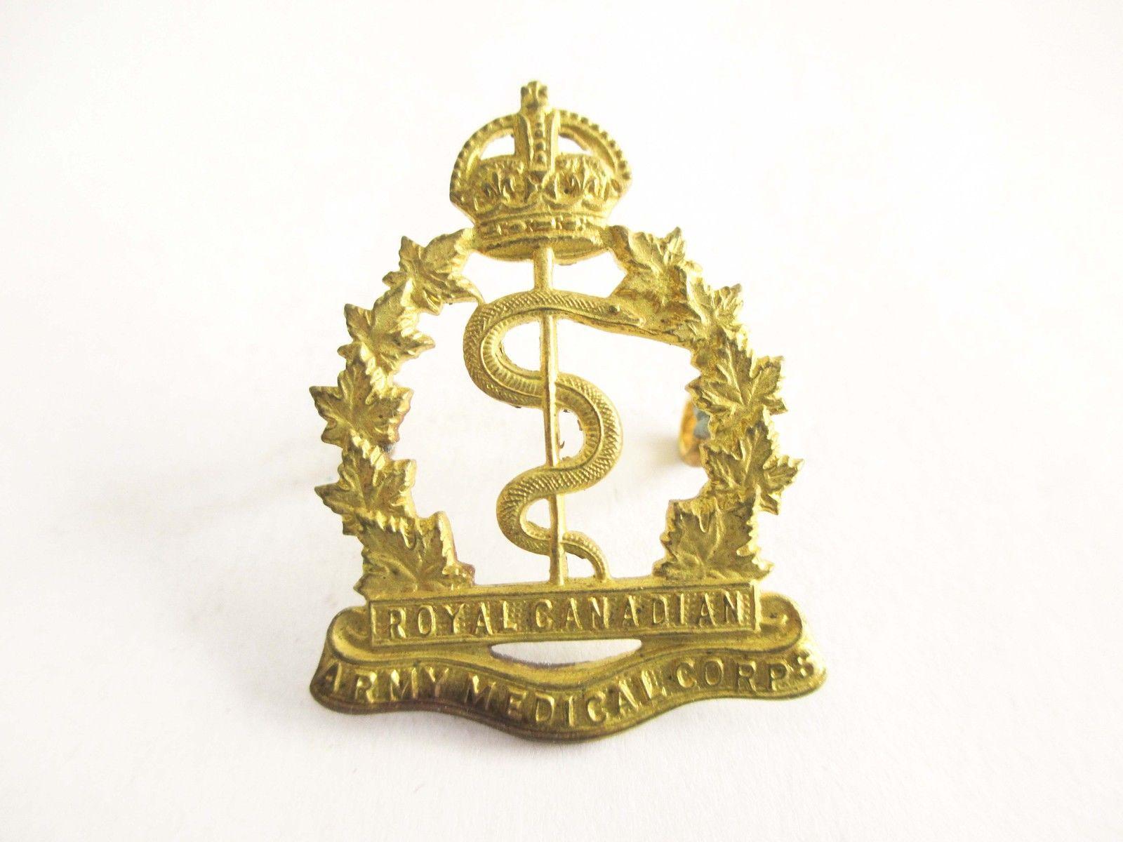 Royal Canadian Army Medical Corps Collar Badge Insignia Canada