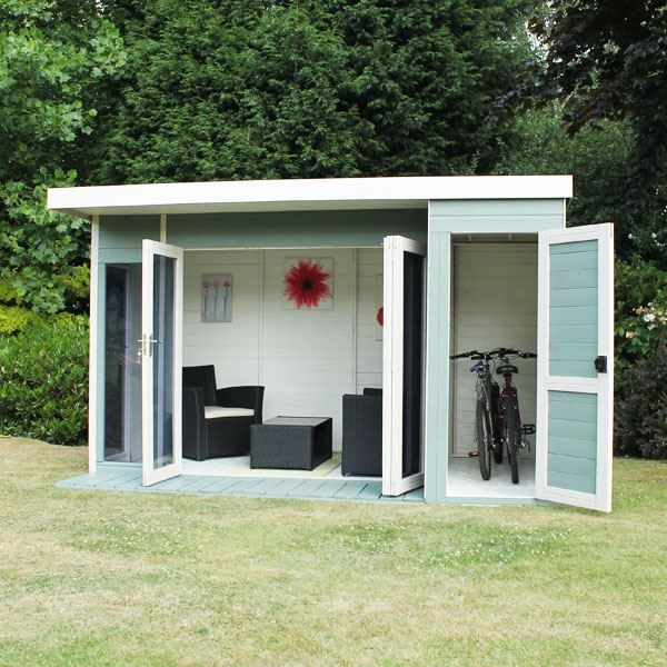 Garden Sheds And Summerhouses 12 x 8 waltons contemporary summerhouse with side shed | gardens