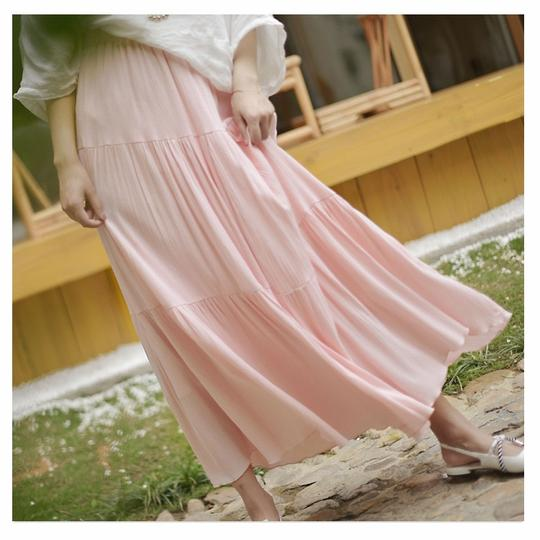 3e2c070786b91 Sherhure 2018 Women Summer Long Skirt Cotton Linen Women Skirts Pink ...