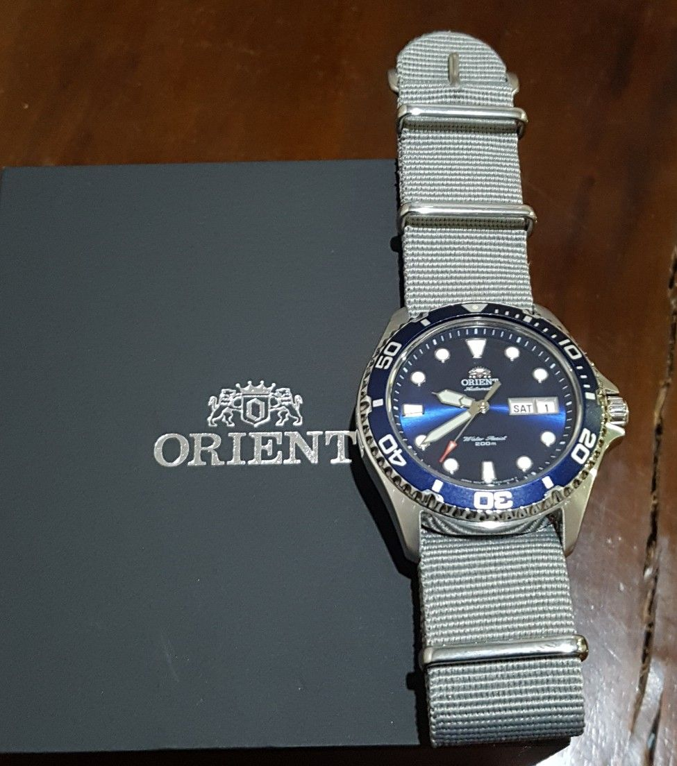 265951342b Orient Blue Ray II in Grey Nato Strap   Orient Ray II in 2019 ...